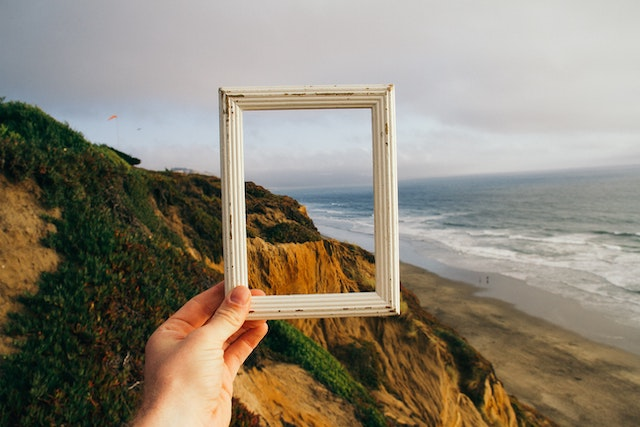 Landscape and empty frame